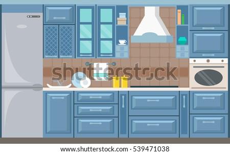 Vector Blue Kitchen Interior Card Flat Stock Vector Royalty Free