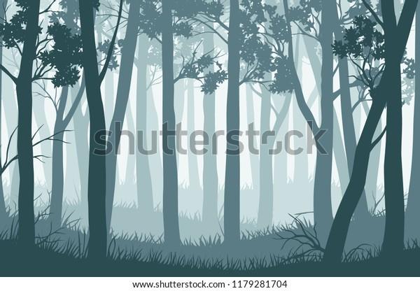 Векторный синий пейзаж с силуэтами деревьев в туманном лесу