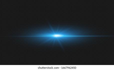 vector blue lens flares on transparent background