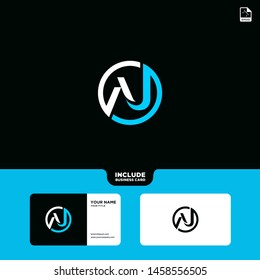 Vector Blue Letter AJ with business card template. Graphic Monogram icon symbol for Business, Technology, Corporate Identity. Initial Logo A, Elegant corporate identity, Simple elegant Circle Logo AJ.