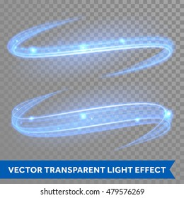 Vector blue line effect of magic glowing light swirl trail trace effect on transparent christmas background. Bokeh glitter fire spark spiral wave line with flying sparkling flash lights
