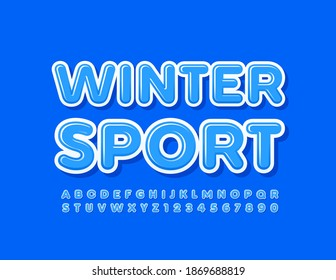 Vector blue logo Winter Sport. Modern style Font. Creative Alphabet Letters and Numbers set