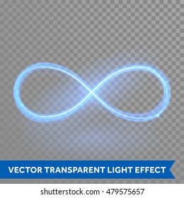 Vector blue magic glowing light infinity sign swirl trail on transparent christmas background. Blue neon glitter fire spark spiral wavy line