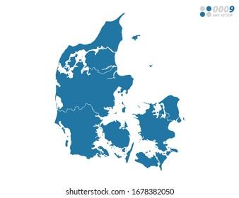 Vector blue of map Denmark.