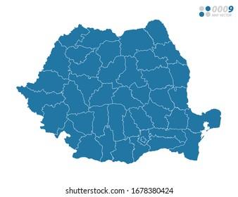 Vector blue of map Romania.