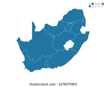 Vector blue of map South Africa.