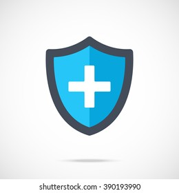 Vector blue medical shield icon. Modern flat design vector illustration concept for web banners, mobile app, web sites, printed materials, infographics. Vector icon isolated on gradient background