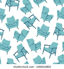 Vector blue mid century chairs seamless pattern. Retro background ideal for home decor and wallpaper.