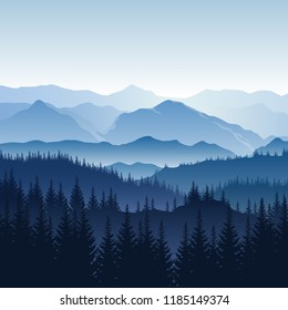 Vector blue misty landscape with silhouettes of mountains, hills and trees