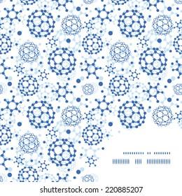 Vector blue molecules texture frame corner pattern background