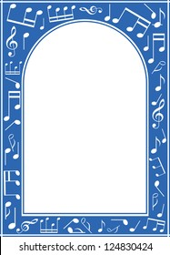 vector blue music arch frame with white center