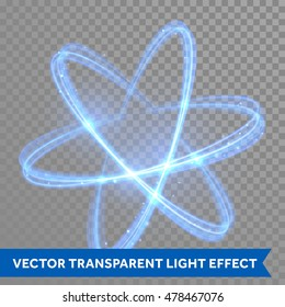 Vector blue neon crossed circles light train effect. Glowing atom structure with magic fire ring trace. Glitter sparkle swirl trail effect on transparent christmas background