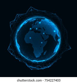 Vector blue neon illuminated globe with geometric polygonal grid and glowing points - connection network or international business concept