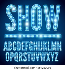 Vector blue neon lamp cinema font