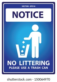 Vector : Blue Notice Plate For Safety Present By Notice and No Littering Please Use A Trash Can Text With Littering Sign Isolated on White Background