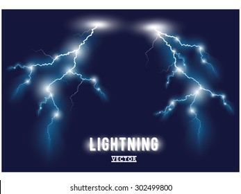 Vector blue oblique branchy lightning lines. Vector illustration.
