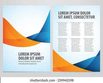 Vector blue and orange business brochure, flyer template. Modern wave corporate design.