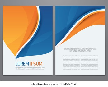 Vector blue and orange business brochure, annual report, flyer, magazine template. Modern corporate design.