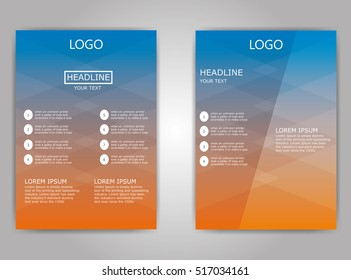 vector blue orange flyer brochure design template