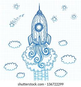 Vector blue ornate doodles rocket starting to space