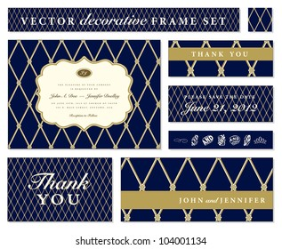 Vector Blue Ornate Frame Set. Easy to edit. Perfect for invitations or announcements.