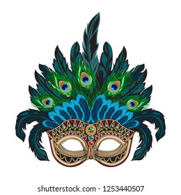 Vector blue ornate Venetian carnival mask with colorful feathers