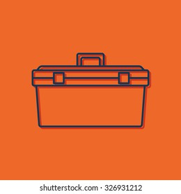 Vector blue outline toolkit icon on orange background with shadow . Industrial equipment