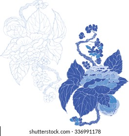 Vector blue  peonies in Chinese style for textile, wedding, invitation card design and wallpaper
