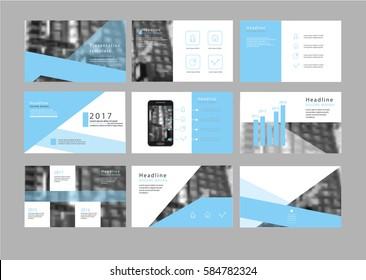 Vector blue presentation template, infographic elements template design set, annual report, booklet, brochure, leaflet, flyer, banner, posture, web, marketing advertising, blurred