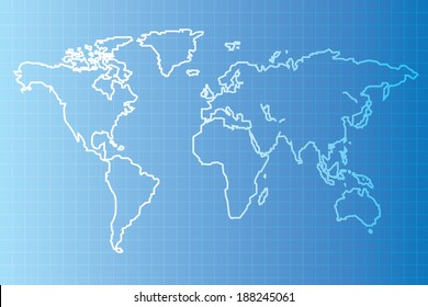 Vector of Blue print  World map