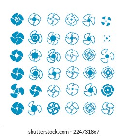Vector blue propellers icons set