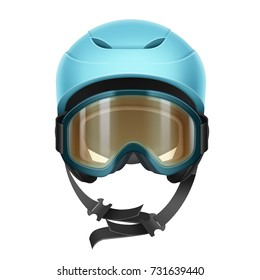 Vector blue protective helmet with orange goggles for skiing, snowboarding and other winter sports front view isolated on white background