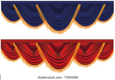 Vector blue and red curtains