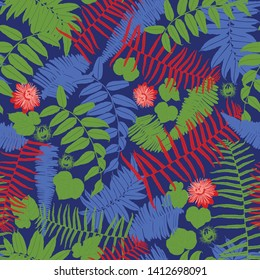 Vector blue, red and green seamless pattern with ferns, leaves and wild flower. Suitable for textile, gift wrap and wallpaper.