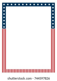 Vector Blue and red patriotic stars and stripes retro page border