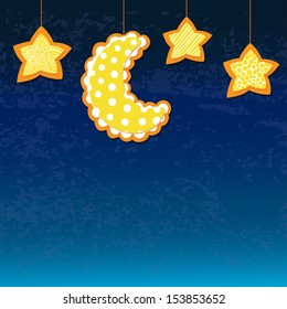 Vector blue retro background with moon and stars.