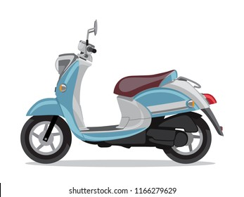 Vector blue retro scooter, flat style side view. Moped for delivery, scooter for tourism. Economical and ecological city transport. Vector illustration.