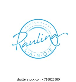 Vector Blue Round Photography Emblem Logo