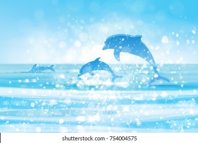 Vector  blue sea  and jumping dolphins.