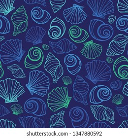 Vector blue seashells repeat pattern. Suitable for gift wrap, textile and wallpaper. Surface pattern design.