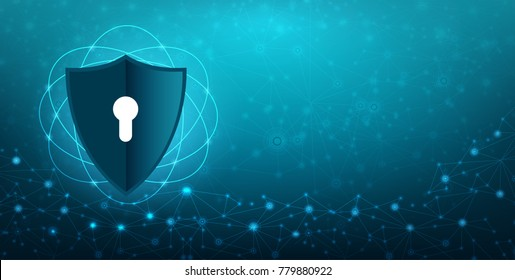 Vector blue shield Business concept of data protection Blue shield  blue background Information protection in the world cyber Internet key  Vectors eps 10
