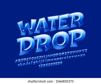 Vector Blue Sign Water Drop. Candy style Font. Glossy Alphabet Letters, Numbers and Symbols