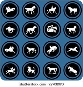 vector blue  signs. Horse riders silhouettes.  Horse icons.