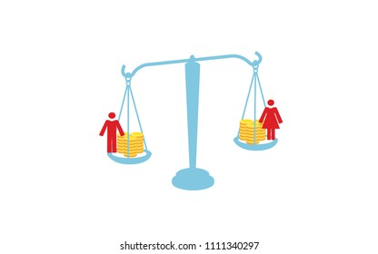 Vector blue silhouette image of scales with coins and a man and woman