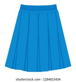Vector  blue skirt template, design fashion woman illustration. Women box pleated skirt