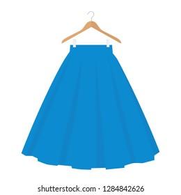 Vector blue skirt template, design fashion woman illustration. Women bubble skirt on hanger