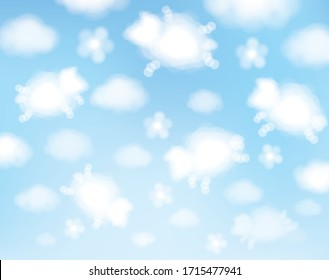 Vector blue sky background. Cute, abstract, sheeps clouds cartoons.