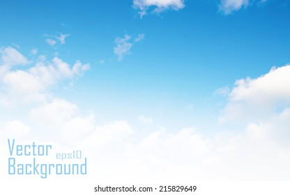 Vector blue sky background with tiny clouds