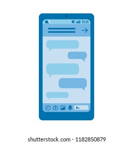Vector blue smartphone digital screen with chat messages bubbles. Online social communication and network icon, messenger design template. Isolated illustration.