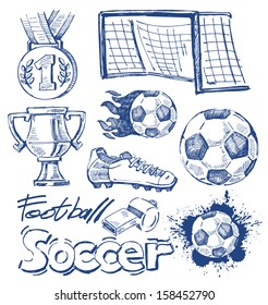 vector blue soccer icon set on white